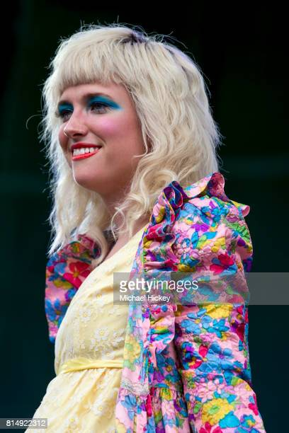 Katie Alice Greer of the band Priests performs at the Pitchfork Festival at Union Park on July 14 2017 in Chicago Illinois
