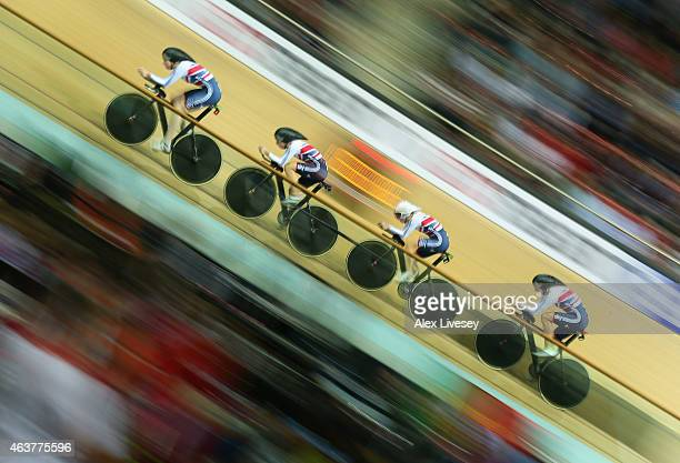 Katie Archibald Laura Trott Elinor Barker and Joanna Rowsell of the Great Britain Cycling Team compete in the Women's Team Pursuit qualifying round...