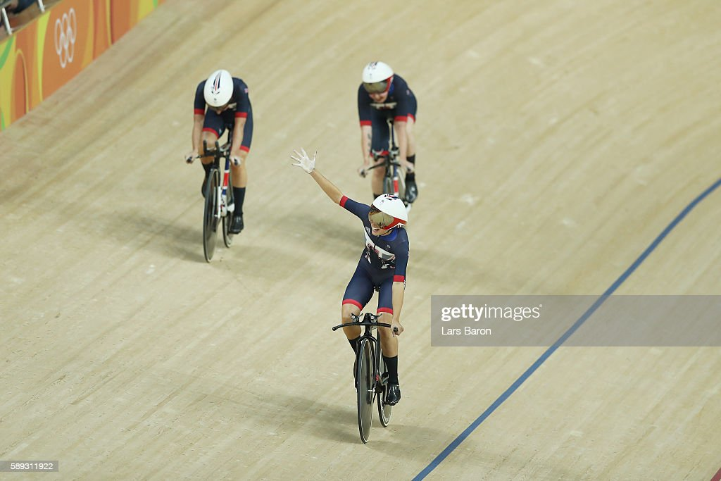 Katie Archibald Laura Trott Elinor Barker Joanna RowsellShand of Great Britain celebrate winning the gold medal after the Women's Team Pursuit Final...