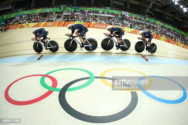 Katie Archibald Laura Trott Elinor Barker Joanna RowsellShand of Great Britain compete in the Women's Team Pursuit Final for the Gold medal on Day 8...