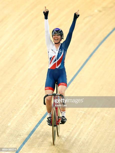Katie Archibald of Great Britain celebrates after winning the Women's points Race Final on Day 3 in 2017 UCI Track Cycling World Championships at...