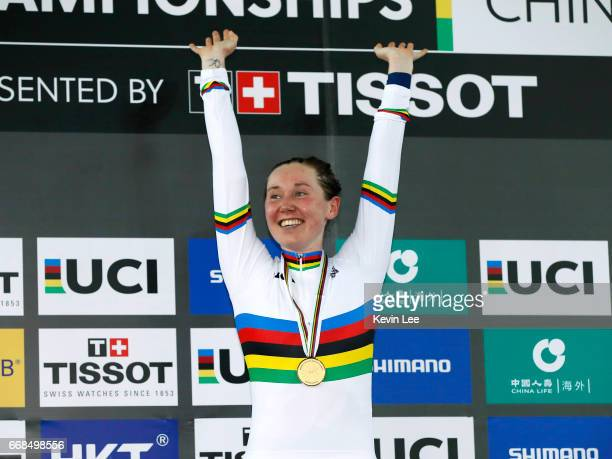 Katie Archibald of Great Britain pose with her Gold medal after winning Women's Omnium on Day 3 in 2017 UCI Track Cycling World Championships at Hong...