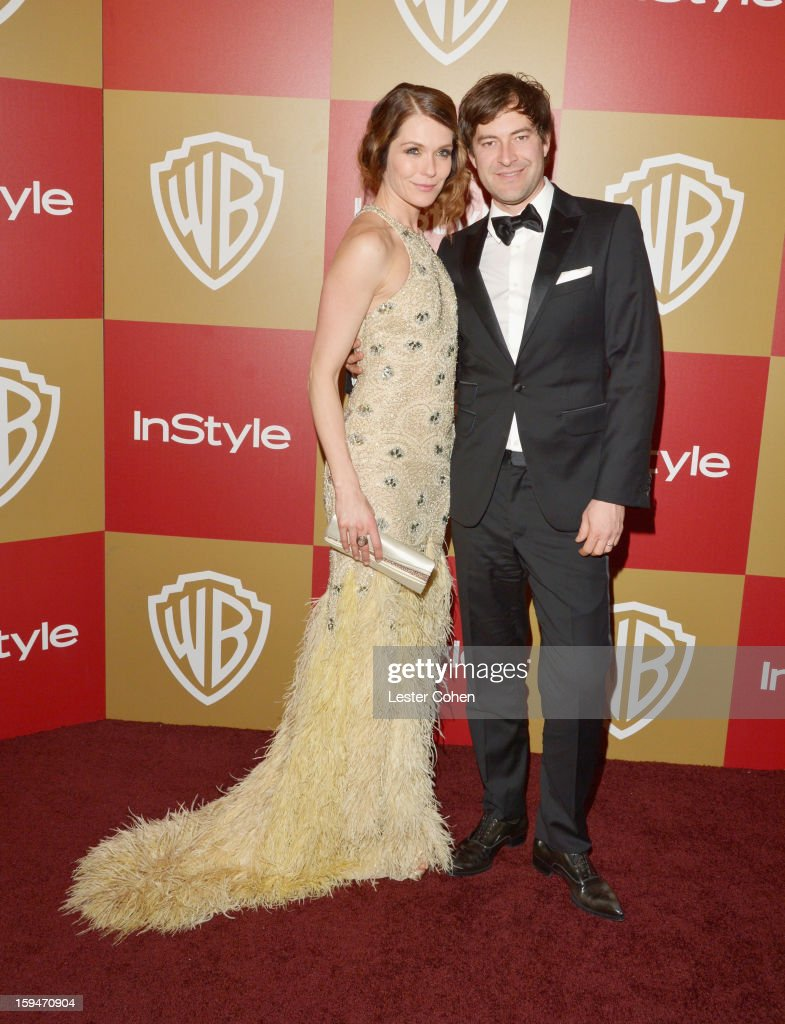 Katie Aselton and Mark Duplass attend the 2013 InStyle and Warner Bros. 70th Annual Golden Globe Awards Post-Party held at the Oasis Courtyard in The Beverly Hilton Hotel on January 13, 2013 in Beverly Hills, California.