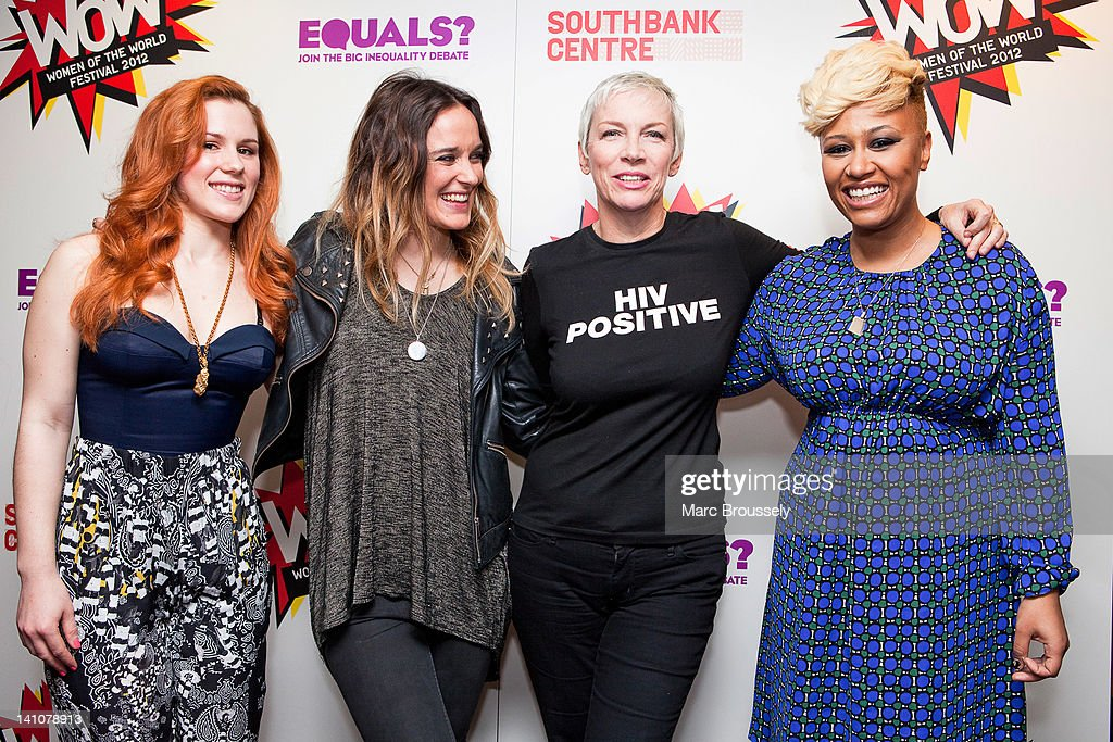 Katie B, Jess Mills, Annie Lennox and Emeli Sande pose for portraits backstage during Equals Live 2012 concert, as part of WoW - Women of the World Festival, at Southbank Centre on March 9, 2012 in London, United Kingdom.