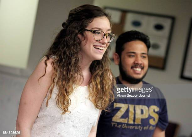 Katie Beck instructor from GumDip Theatre laughs during drama class warm up alongside student Moni Bhattarai at the Himalayan Music Academy on...