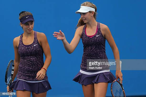 Katie Boulter of Great Britain and Ivana Jorovic of Serbia in action in their first round doubles match with Natsuho Arakawa of Japan and Qiu Yu Ye...