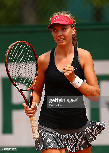 Katie Boulter of Great Britain celebrates victory in her girls' singles match against Raveena Kingsley of the United States on day nine of the French...