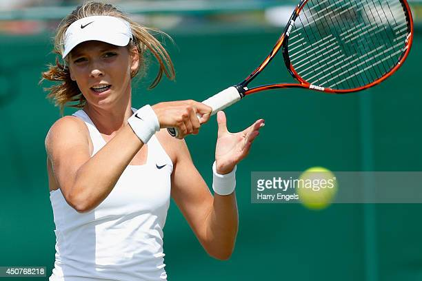 Katie Boulter of Great Britain in action during her first round qualifying match against Alberta Brianti of Italy on day two of the Wimbledon...