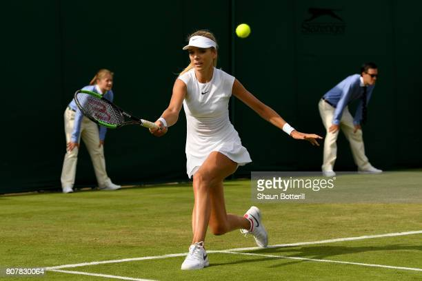 Katie Boulter of Great Britain plays a forehand during the Ladies Singles first round match against Christina McHale of The United States on day two...