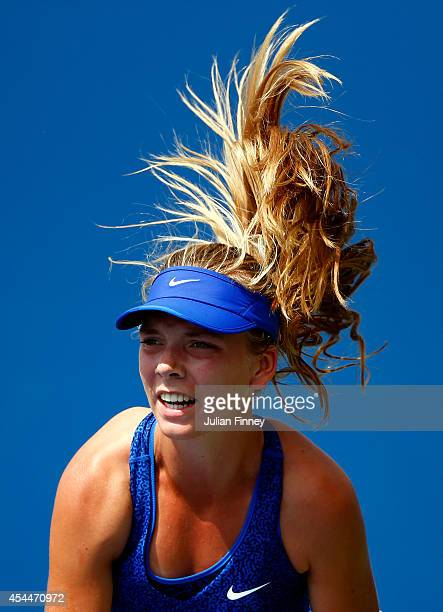 Katie Boulter of Great Britain serves against Katerina Stewart of the United States during their junior girls' singles first round match on Day Eight...