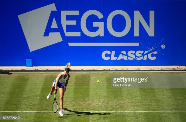 Katie Boulter of Great Britain serves during the qualifying match against Sachia Vickery of The USA on day two of qualifying for the Aegon Classic at...