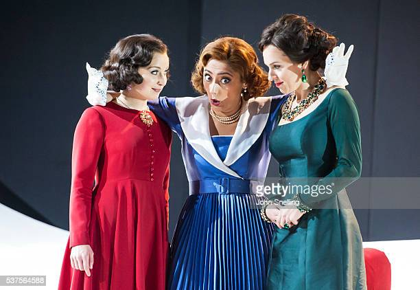 Katie Bray as Zulma Ezgi Kutlu as Isabella and Mary Bevan as Elira perform on stage during a performance of L'italiana in Algeri at Garsington Opera...
