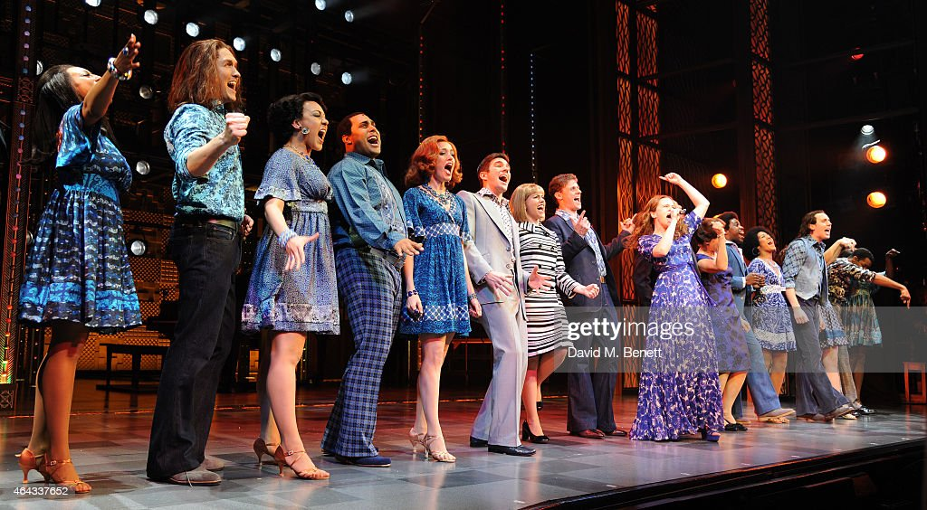 Katie Brayben (R) bows at the curtain call during the press night performance of 'Beautiful: The Carole King Musical' at the Aldwych Theatre on February 24, 2015 in London, England.