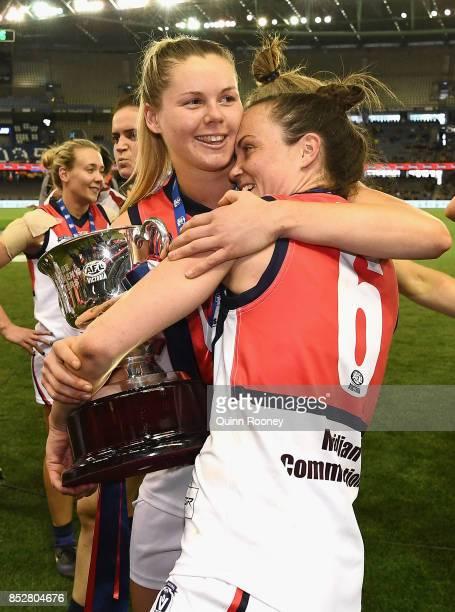Katie Brennan and Daisy Pearce of Darebin celebrate winning the VFL Women's Grand Final match between Diamond Creek and Darebin at Etihad Stadium on...