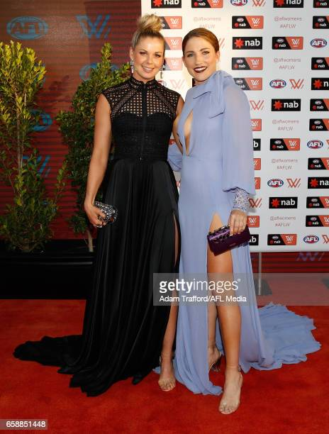 Katie Brennan of the Bulldogs and Melissa Hickey of the Demons arrive during the The W Awards at the Peninsula on March 28 2017 in Melbourne Australia