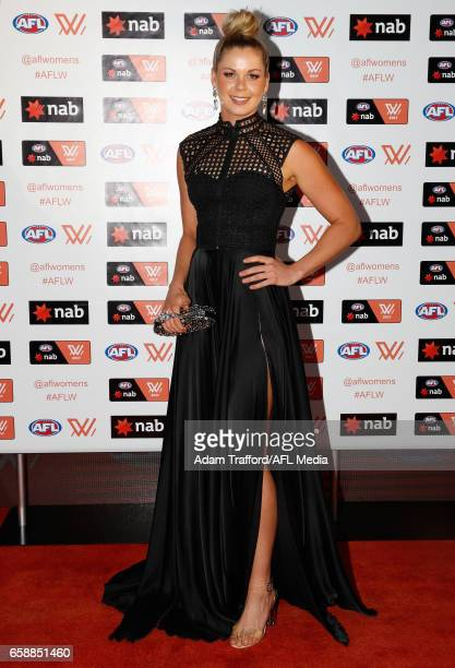 Katie Brennan of the Bulldogs arrives during the The W Awards at the Peninsula on March 28 2017 in Melbourne Australia
