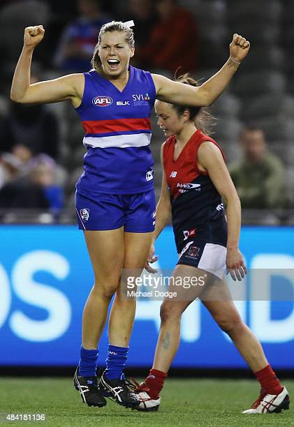 Katie Brennan of the Bulldogs celebrates a goal during a Women's AFL exhibition match between Western Bulldogs and Melbourne at Etihad Stadium on...