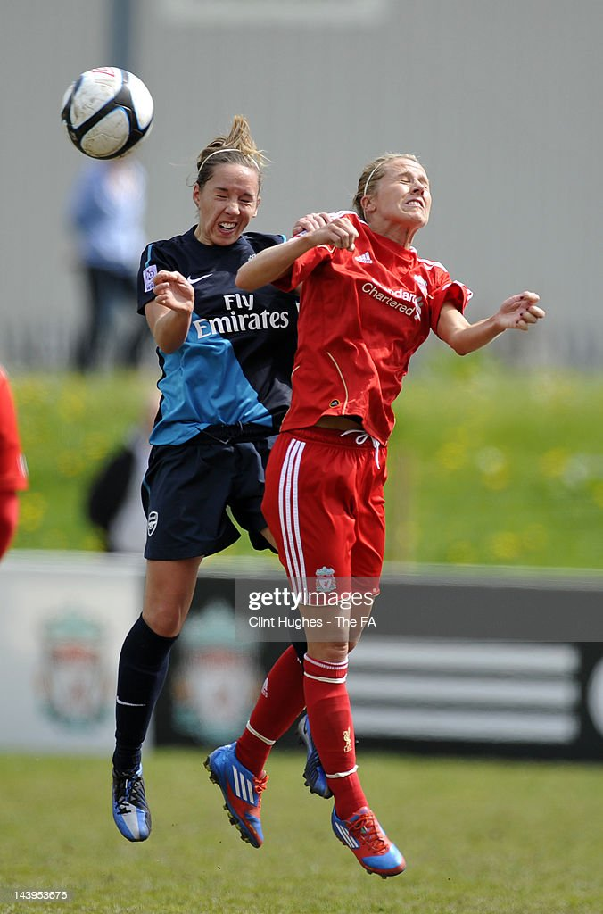 Katie Brusell of Liverpool and Jordan Nobbs of Arsenal contest a header during the FA Women's Super League match between Liverpool Ladies FC and...