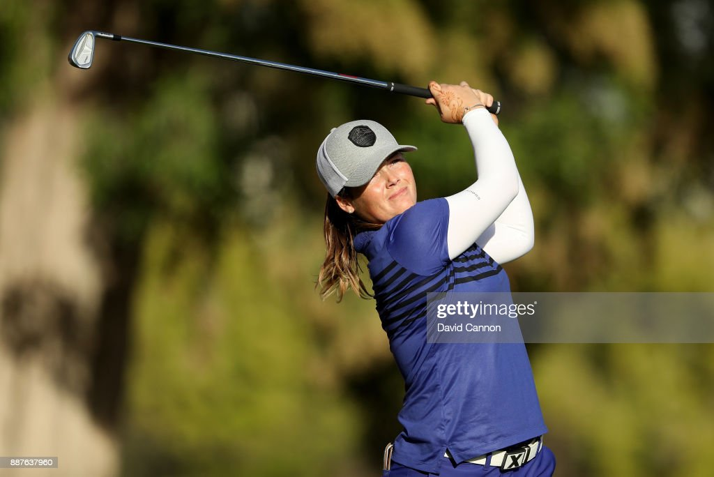 Katie Burnett of the United States plays her tee shot on the par 3, 15th hole during the second round of the 2017 Dubai Ladies Classic on the Majlis Course at The Emirates Golf Club, on December 7, 2017 in Dubai, United Arab Emirates.