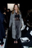 Katie Cassidy attends the Dennis Basso show during MercedesBenz Fashion Week Fall 2014 at The Theatre at Lincoln Center on February 10 2014 in New...