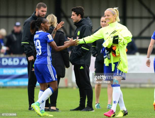 Katie Chapman and Crystal Dunn of Chelsea celebrate their win after the FA WSL 1 match between Chelsea Ladies and Yeovil Town Ladies at Wheatsheaf...