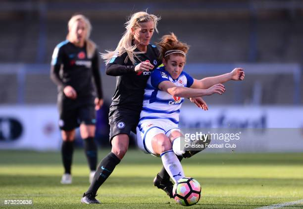 Katie Chapman of Chelsea during the FA WSL match between Reading Women and Chelsea Ladies at Adams Park on October 12 2017 in Wycombe England