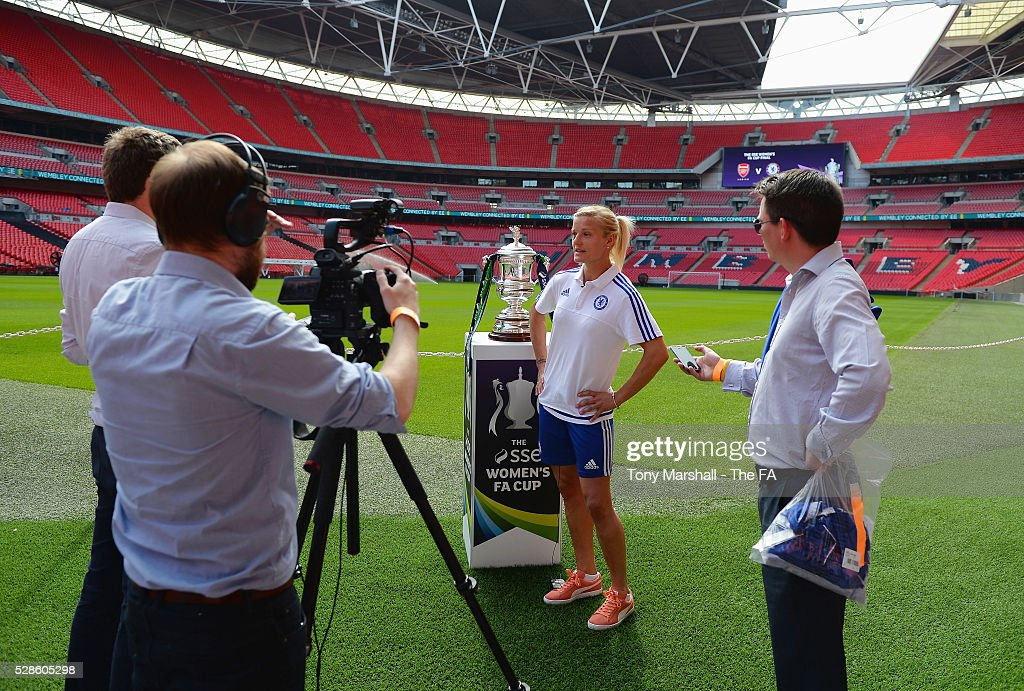 Katie Chapman of Chelsea FC Ladies is interviewed during the SSE Women's FA Cup Final - Wembley Media Day at Wembley Stadium on May 6, 2016 in London, England.