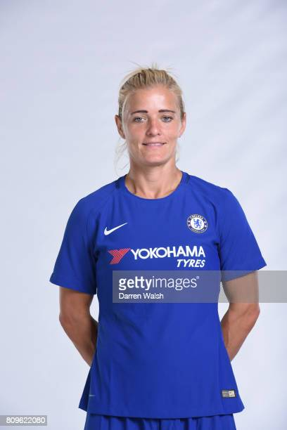 Katie Chapman of Chelsea Ladies during the Chelsea Ladies Nike Kit Shoot at Chelsea Training Ground on June 30 2017 in Cobham England