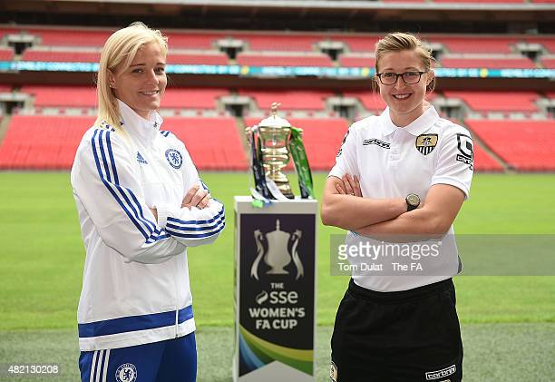 Katie Chapman of Chelsea Ladies FC and Ellen White of Notts County Ladies FC pose for photographs with the trophy during the SSE Women's Cup Final...