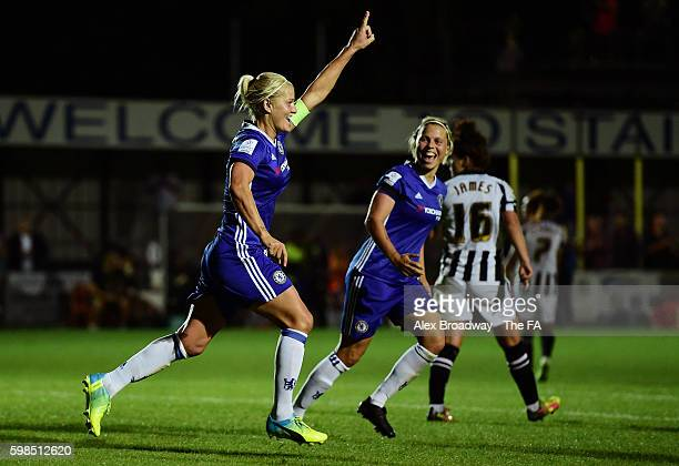 Katie Chapman of Chelsea Ladies FC celebrates scoring her teams first goal during the FA WSL 1 match between Chelsea Ladies FC and Notts County...