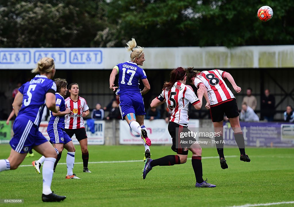 Katie Chapman of Chelsea Ladies FC scores her team's first goal during the FA WSL 1 match between Chelsea Ladies FC and Sunderland Ladies at Wheatsheaf Park on May 25, 2016 in Staines, England.