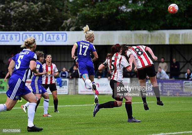Katie Chapman of Chelsea Ladies FC scores her team's first goal during the FA WSL 1 match between Chelsea Ladies FC and Sunderland Ladies at...