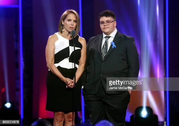 Katie Couric and Gavin Grimm speak onstage at the Logo's 2017 Trailblazer Honors event at Cathedral of St John the Divine on June 22 2017 in New York...