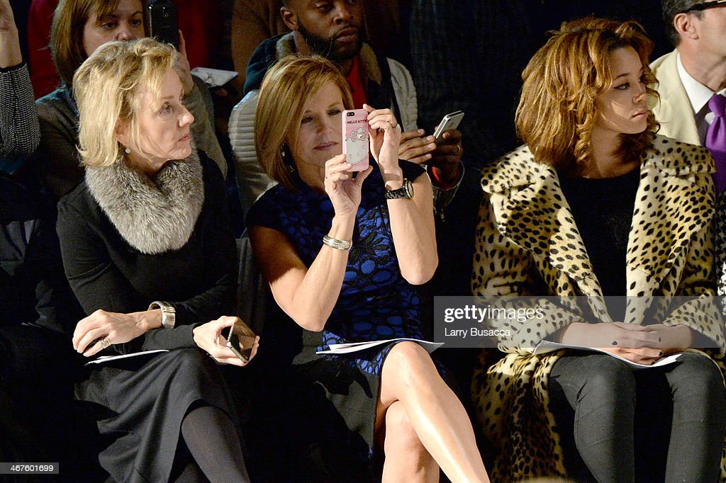 <a gi-track='captionPersonalityLinkClicked' href=/galleries/search?phrase=Katie+Couric&family=editorial&specificpeople=202633 ng-click='$event.stopPropagation()'>Katie Couric</a> (C) and Jillian Hervey (R) attend Carmen Marc Valvo fashion show during Mercedes-Benz Fashion Week Fall 2014 at The Salon at Lincoln Center on February 7, 2014 in New York City.
