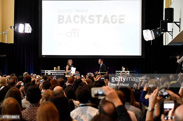 Katie Couric and John Legend speak onstage during Backstage with Citi John Legend Katie Couric at Citibank on June 4 2015 in Long Island City New York