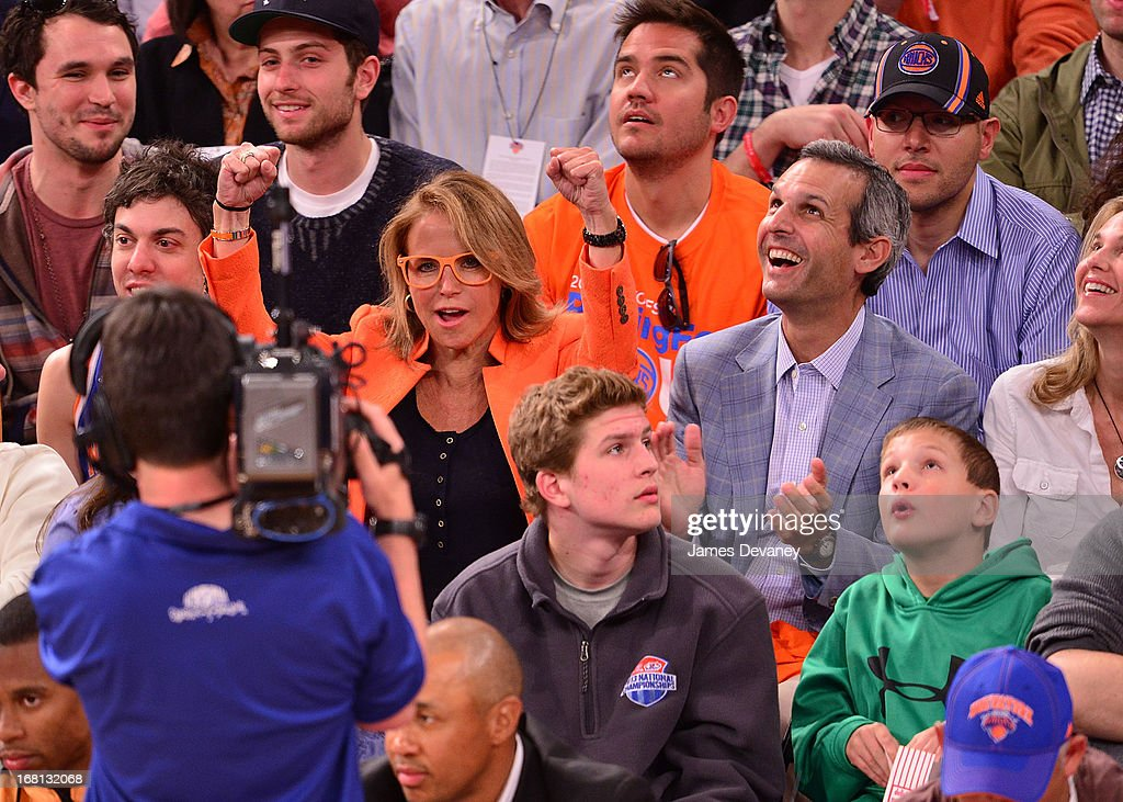 <a gi-track='captionPersonalityLinkClicked' href=/galleries/search?phrase=Katie+Couric&family=editorial&specificpeople=202633 ng-click='$event.stopPropagation()'>Katie Couric</a> and John Molner attend the New York Knicks vs Indiana Pacers NBA playoff game at Madison Square Garden on May 5, 2013 in New York City.