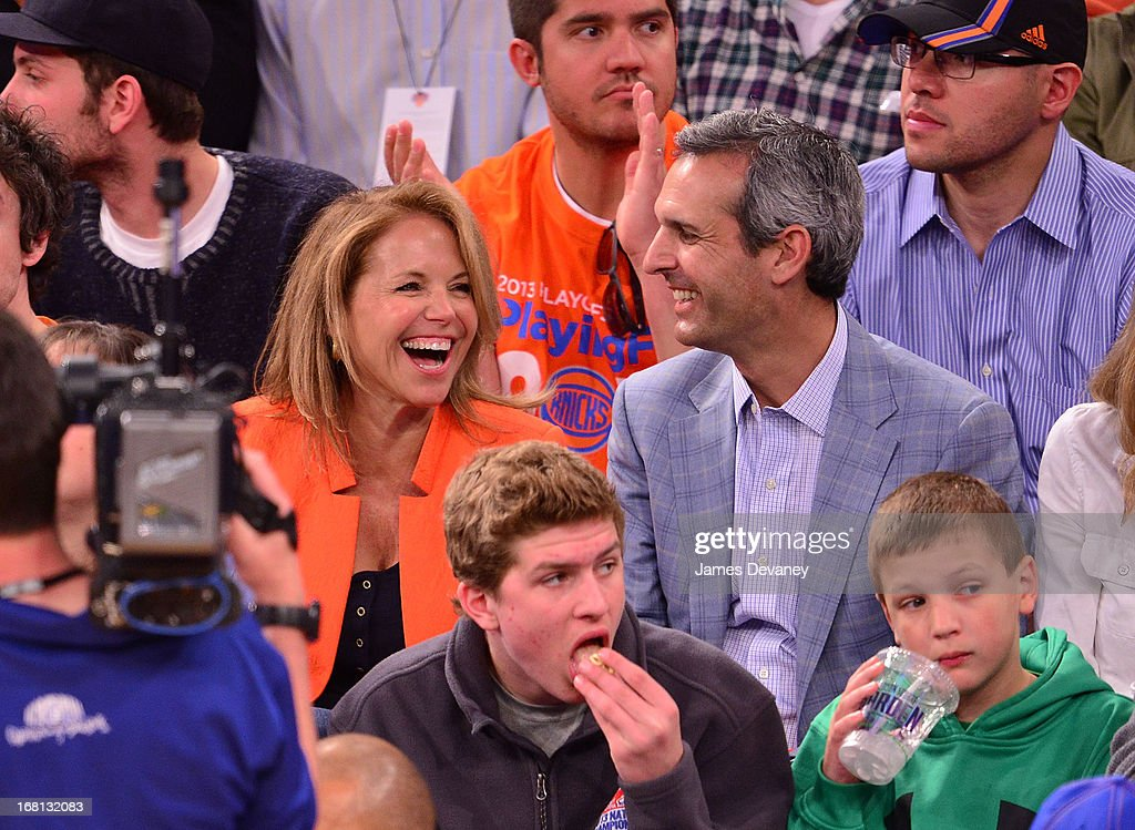 Katie Couric and John Molner attend the New York Knicks vs Indiana Pacers NBA playoff game at Madison Square Garden on May 5, 2013 in New York City.