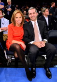 Katie Couric and John Molner attend the Oklahoma City Thunder vs New York Knicks game at Madison Square Garden on March 7 2013 in New York City
