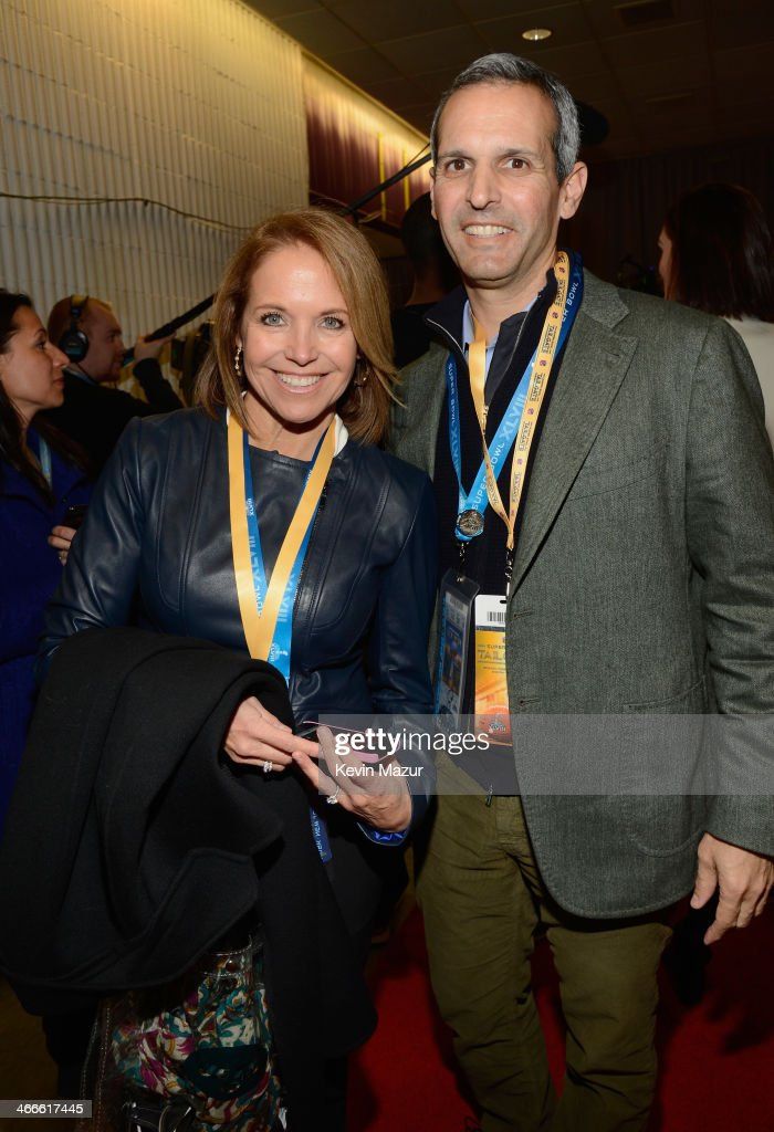 Katie Couric and John Molner attend the Pepsi Super Bowl XLVIII Pregame Show at MetLife Stadium on February 2 2014 in East Rutherford New Jersey