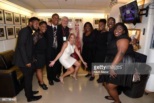 Katie Couric and Kesha pose backstage with guests during the National Night Of Laughter And Song event hosted by David Lynch Foundation at the John F...