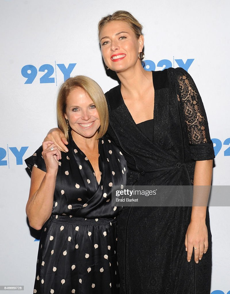 Katie Couric (L) and Maria Sharapova attend Maria Sharapova in conversation with Katie Couric at 92nd Street Y on September 13, 2017 in New York City.