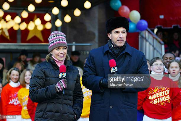 Katie Couric and Matt Lauer from NBC's Today Show appear at the 76th Annual Macy's Thanksgiving Day Parade in Herald Square November 28 2002 in New...