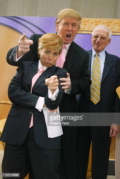 Katie Couric as Donald Trump and Donald Trump during Halloween at the 'Today' Show at Rockefeller Plaza in New York City New York United States
