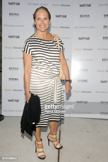 Katie Couric attends THE CINEMA SOCIETY with VANITY FAIR HUGO BOSS host a screening of 'DINNER FOR SCHMUCKS' at East Hampton UA Cineman on July 17...