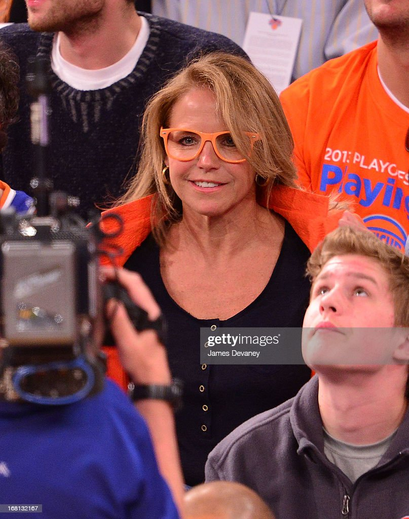 <a gi-track='captionPersonalityLinkClicked' href=/galleries/search?phrase=Katie+Couric&family=editorial&specificpeople=202633 ng-click='$event.stopPropagation()'>Katie Couric</a> attends the New York Knicks vs Indiana Pacers NBA playoff game at Madison Square Garden on May 5, 2013 in New York City.