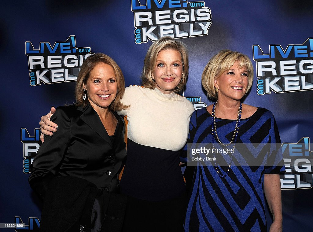 <a gi-track='captionPersonalityLinkClicked' href=/galleries/search?phrase=Katie+Couric&family=editorial&specificpeople=202633 ng-click='$event.stopPropagation()'>Katie Couric</a>, <a gi-track='captionPersonalityLinkClicked' href=/galleries/search?phrase=Diane+Sawyer&family=editorial&specificpeople=202252 ng-click='$event.stopPropagation()'>Diane Sawyer</a> and <a gi-track='captionPersonalityLinkClicked' href=/galleries/search?phrase=Joan+Lunden&family=editorial&specificpeople=206769 ng-click='$event.stopPropagation()'>Joan Lunden</a> attends Regis Philbin's Final Show of 'Live! with Regis & Kelly' at the Live with Regis & Kelly Studio on November 18, 2011 in New York New York.