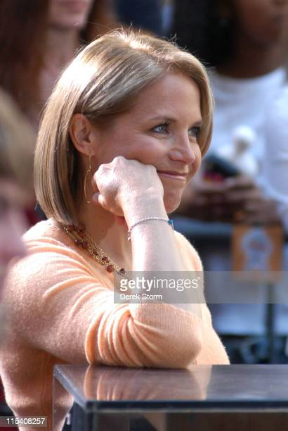 Katie Couric during Elvis Costello and Emmylou Harris Perform on the 2005 'Today' Show Summer Concert Series at The 'Today' Show Studios in New York...