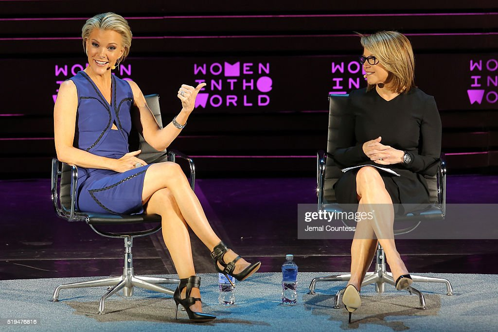 Katie Couric (R) interivews Megyn Kelly onstage at Tina Brown's 7th Annual Women In The World Summit Opening Night at David H. Koch Theater at Lincoln Center on April 6, 2016 in New York City.