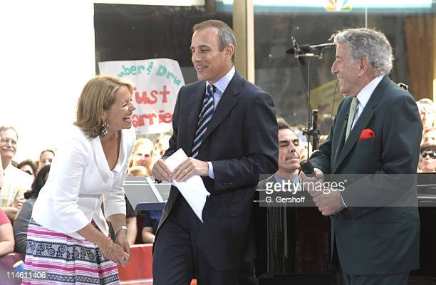 Katie Couric Matt Lauer and Tony Bennett during NBC's 'The Today Show' Says Farewell to Katie Couric May 31 2006 at NBC Studios in New York City New...