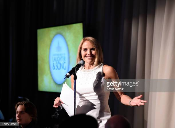 Katie Couric speaks on stage at the National Night Of Laughter And Song event hosted by David Lynch Foundation at the John F Kennedy Center for the...